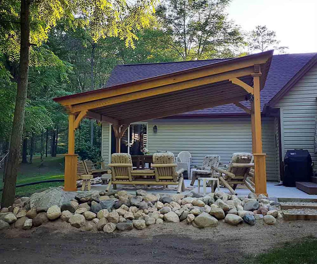 14x16 Lean-To Pavilion pressure treated pine Crivitz WI
