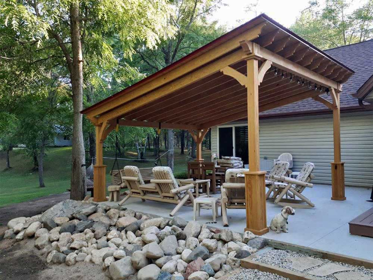14x16 Lean-To Pavilion pressure treated pine Crivitz Wisconsin