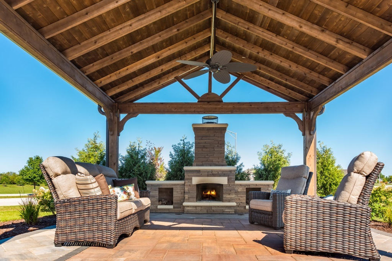 Beautiful Fireplace Under a 16x16 Gabled Roof Patio Cover, Minooka, IL