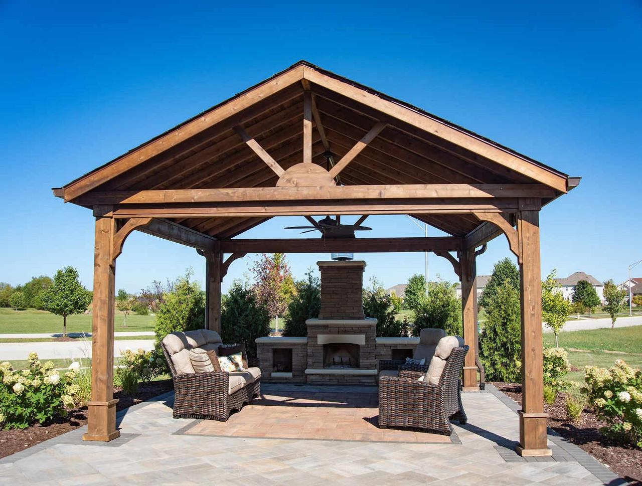 16x16 Red Cedar Gabled Roof Pavilion Kit, Minooka, Illinois