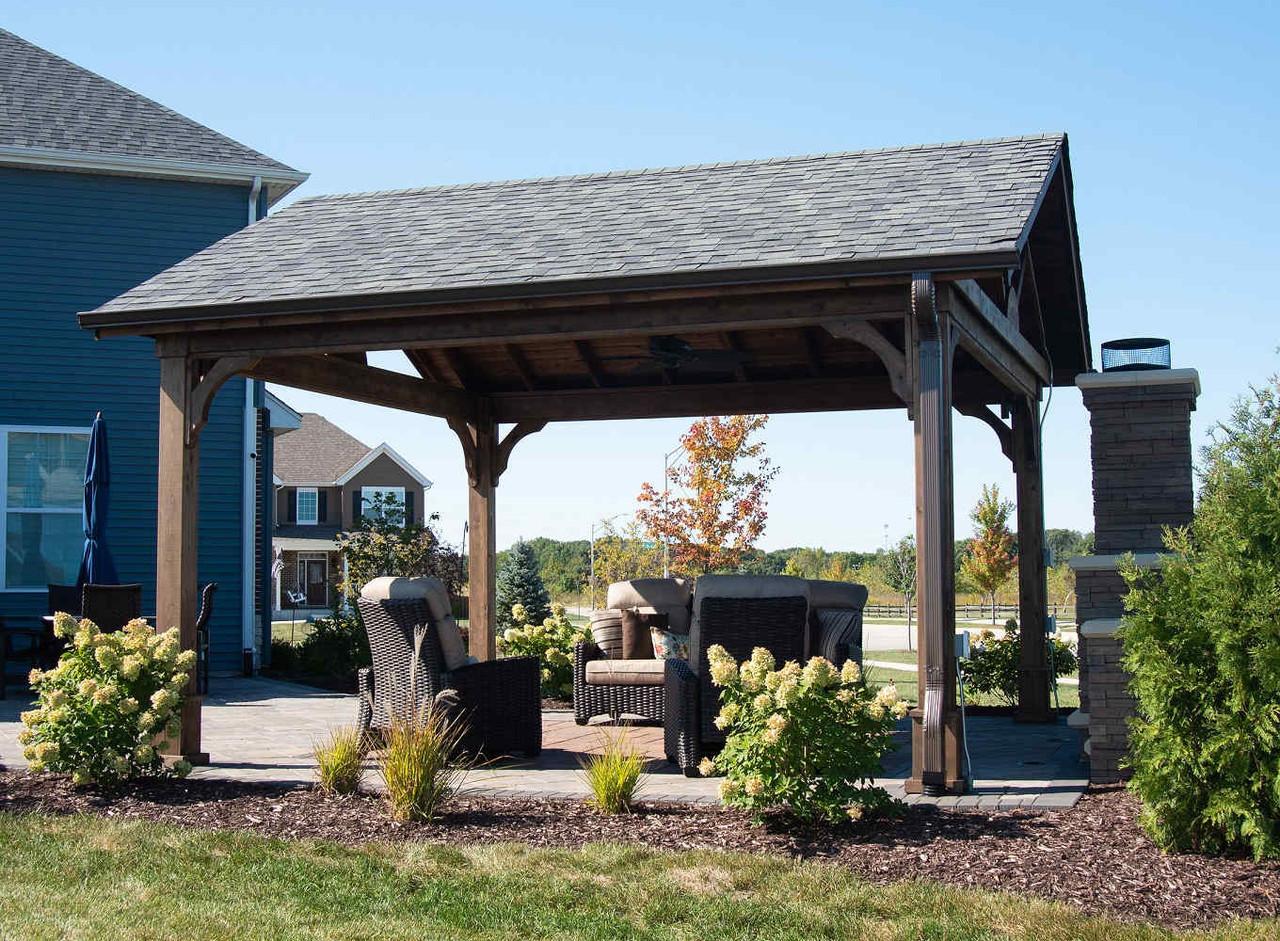 Walnut Stain on a 16x16 Cedar Pavilion Kit, Minooka, Illinois