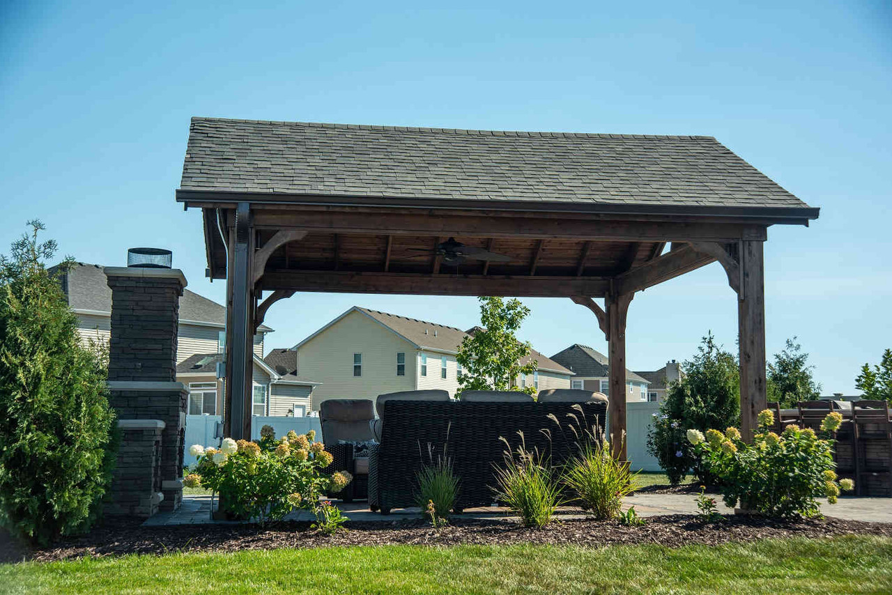 Cozy Retreat Red Cedar Open Gable Pavilion, Minooka, IL