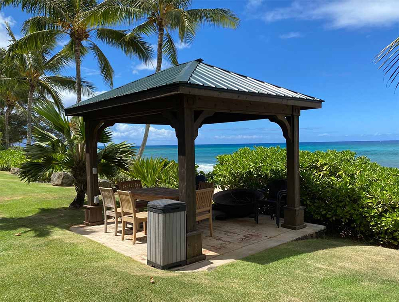 10x12 Western Red Cedar Traditional (Hip) Roof Pavilion Honolulu, Hawaii