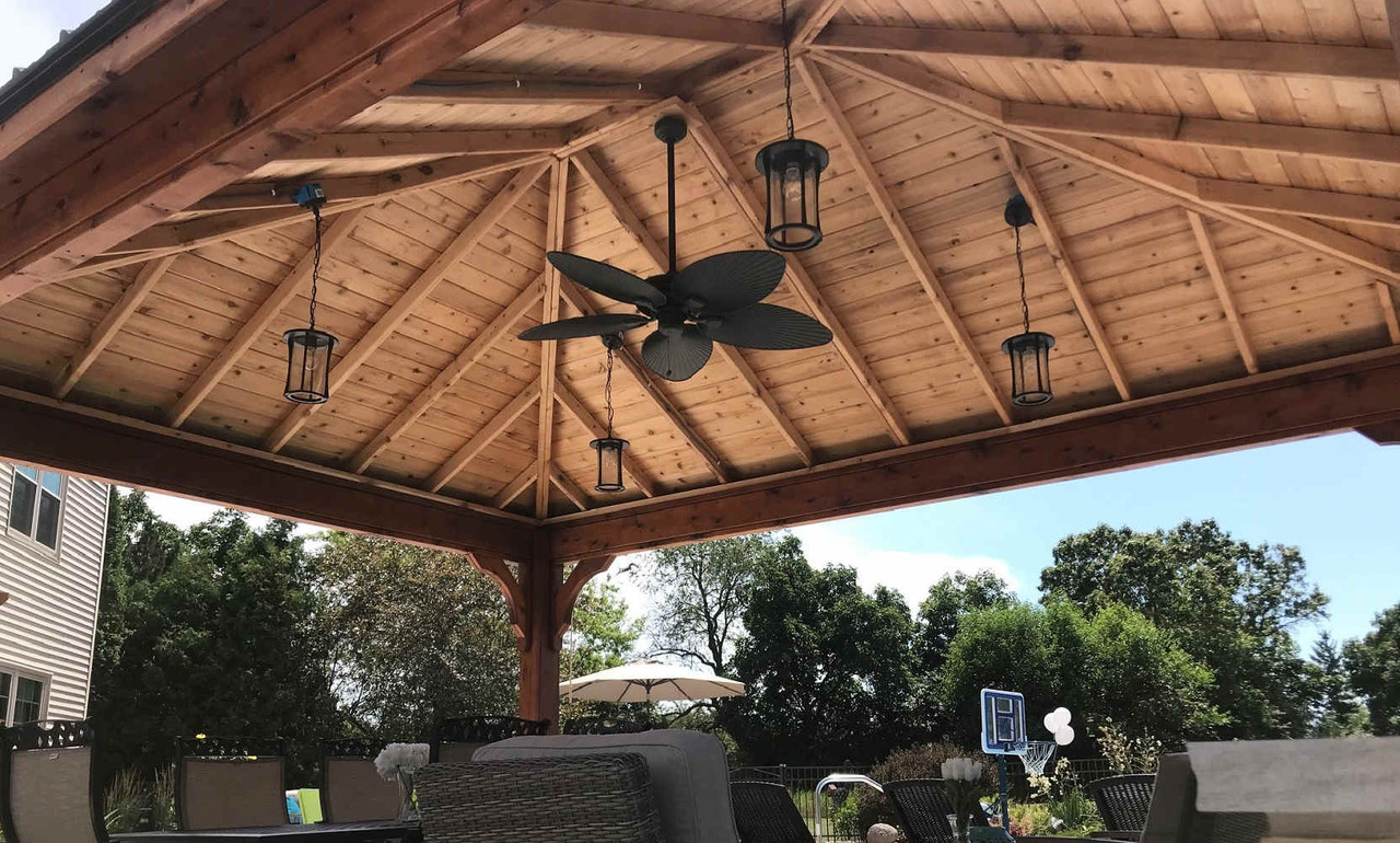 Attractive Underside of Hip Roof Cedar Pavilion, Mukwonago, WI