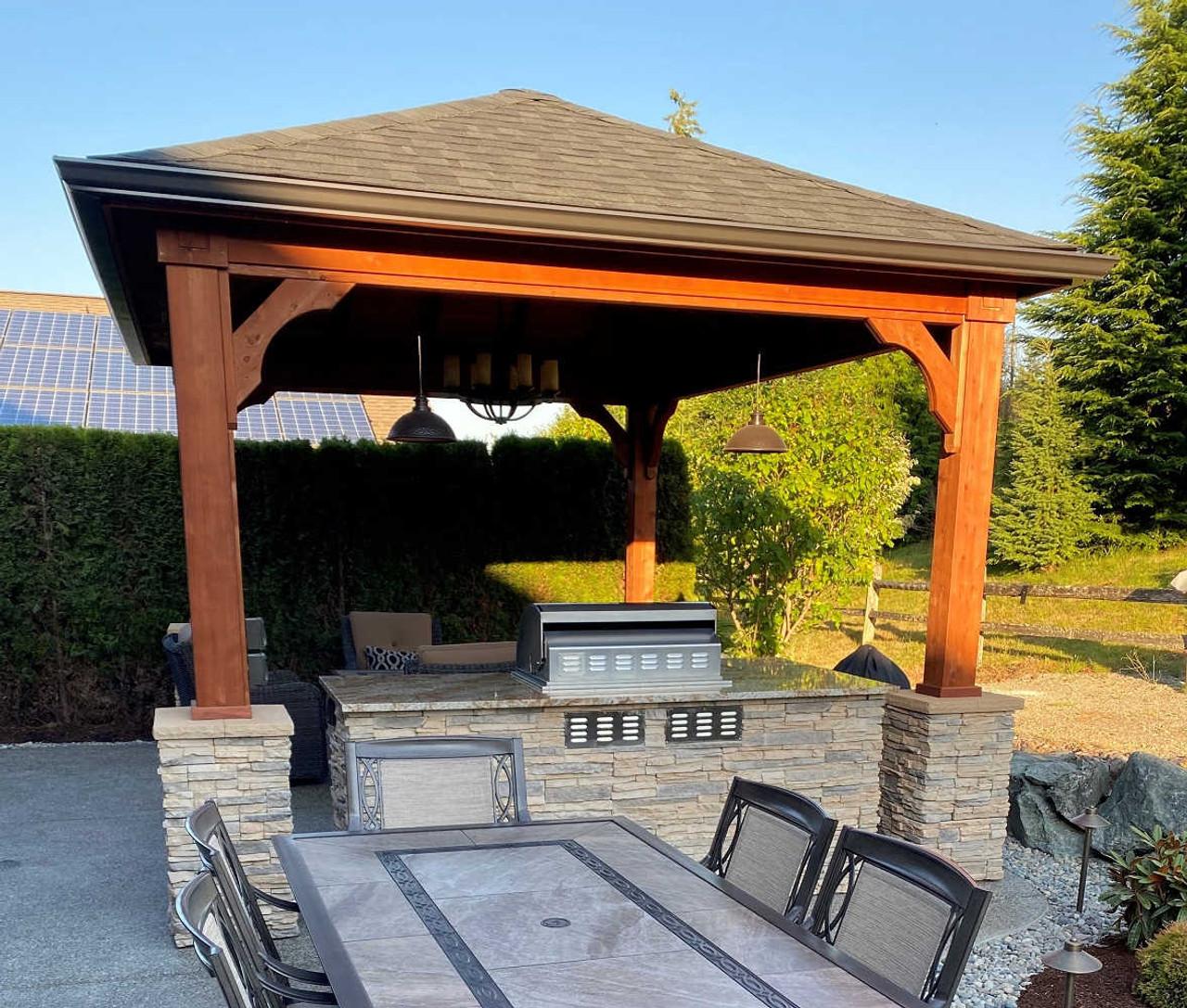 Hip Roof Cedar Pavilion with Rustic Black Shingles and Rustic Cedar Stain, Redmond, WA