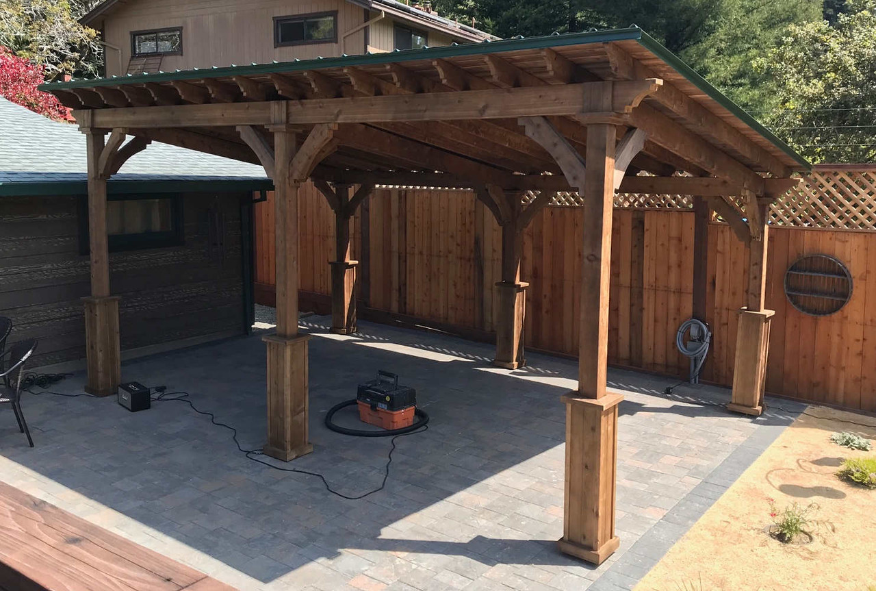 Lean-To Cedar Pavilion with Walnut Stain and Evergreen Metal Roof, Guerneville, CA