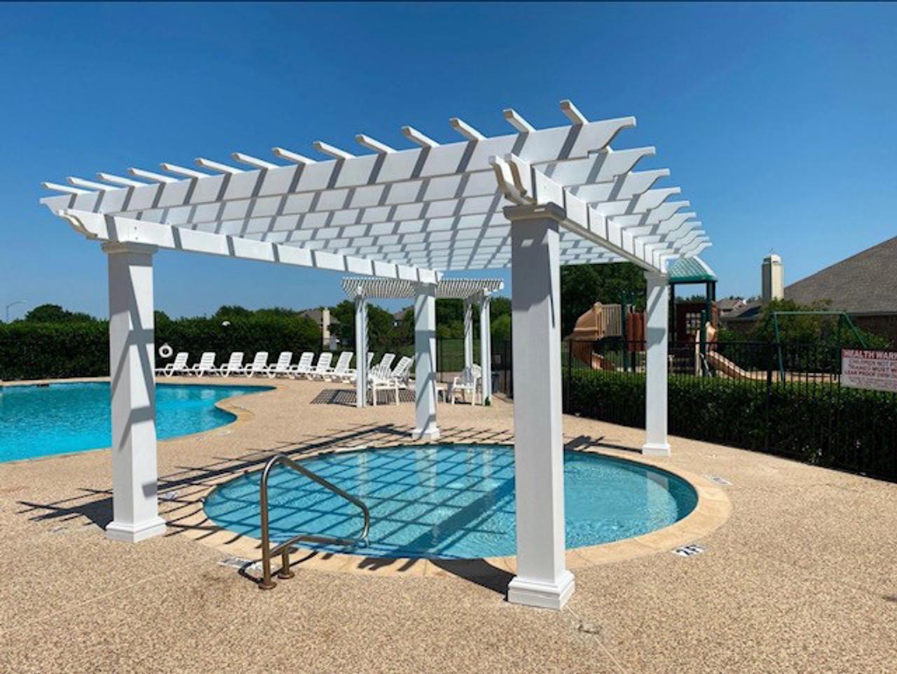 18x12 Poolside Fiberglass Pergola Garland, Texas