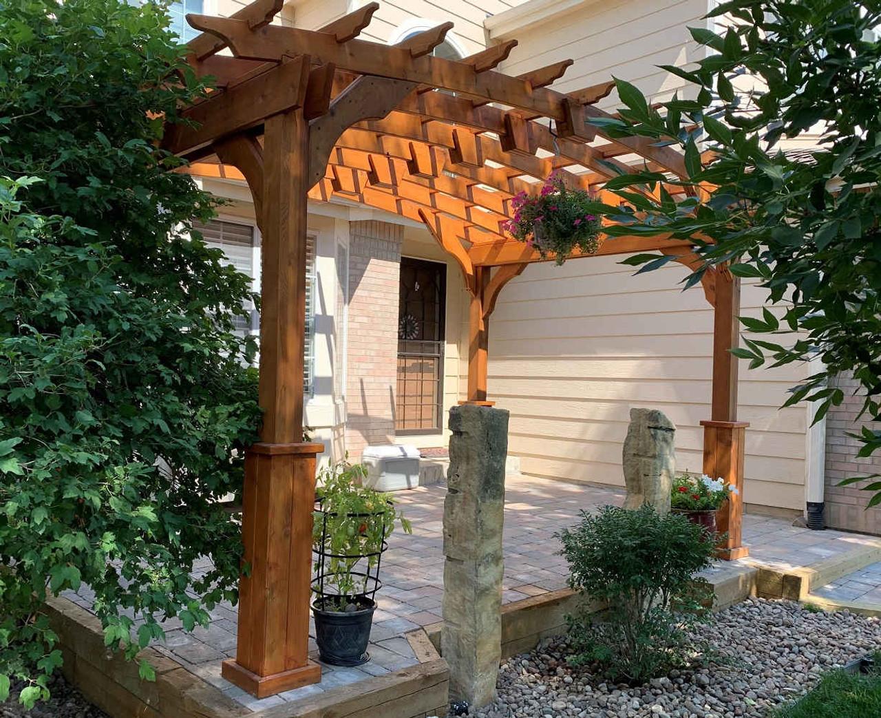 Shady Patio Under Arched Cedar Pergola, Thornton, CO