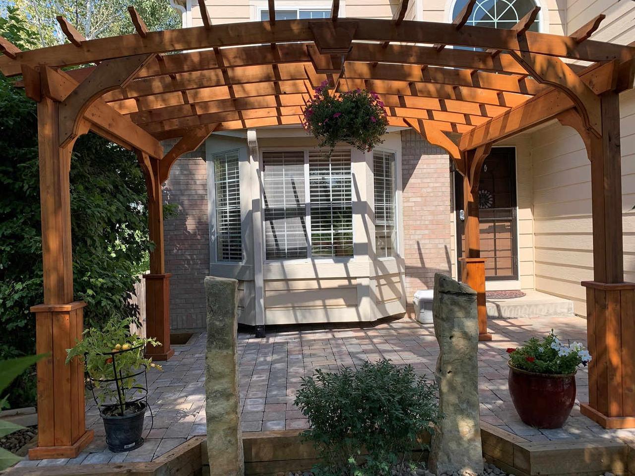 8x12 Arched Cedar Pergola Kit, Thornton, CO