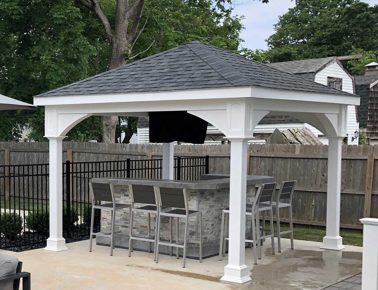 11x12 Traditional (Hip) Roof Vinyl Pavilion Kit, Atlantic Highlands, New Jersey