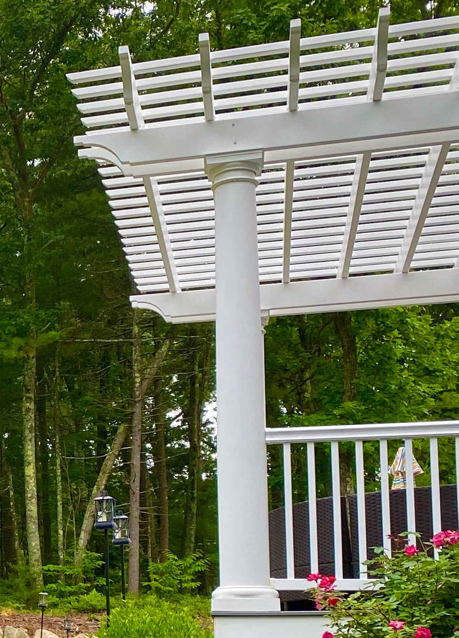 Tapered Round Column with Tuscan Base and Cap on Fiberglass Pergola,  Wilmington, MA