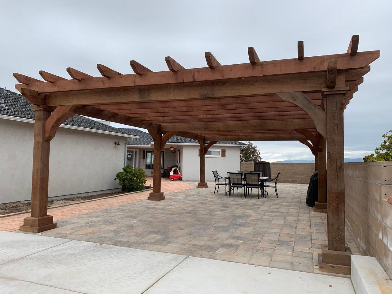 18x32 Homestead Rough Sawn Cedar Pergola Kit, Arroyo Grande, CA
