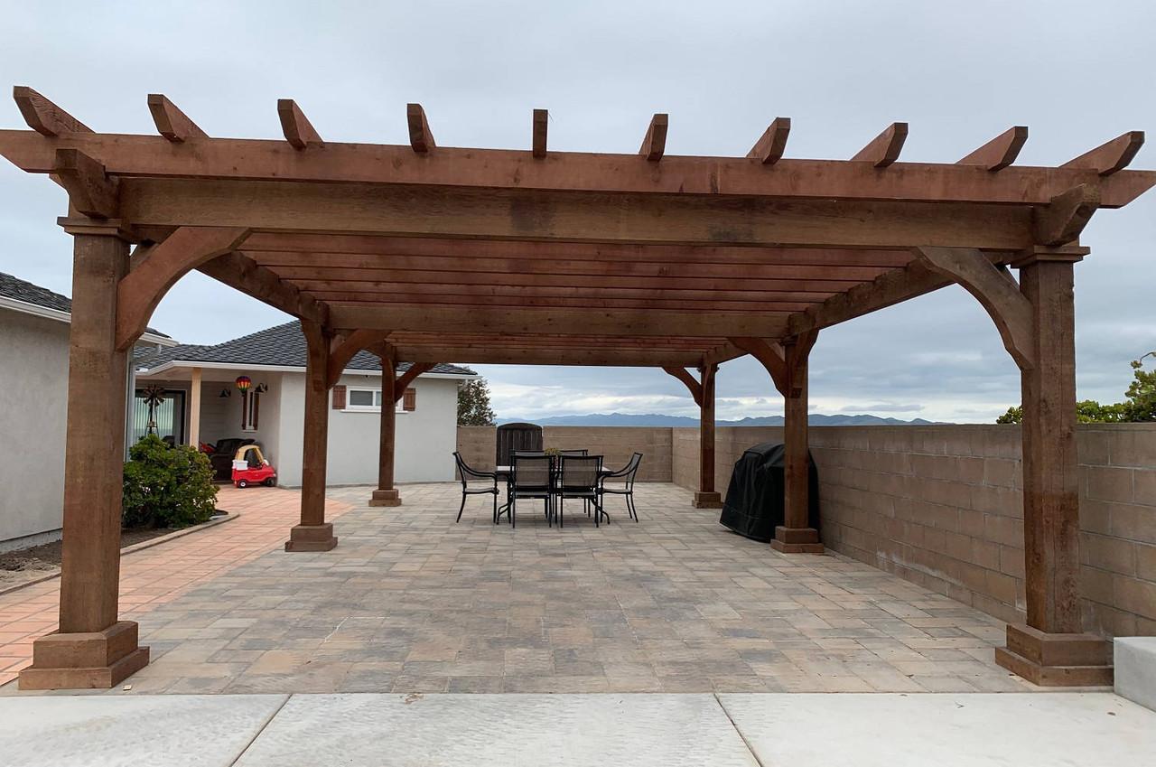 18x32 Homestead Rough Sawn Cedar Pergola Kit, Arroyo Grande, California