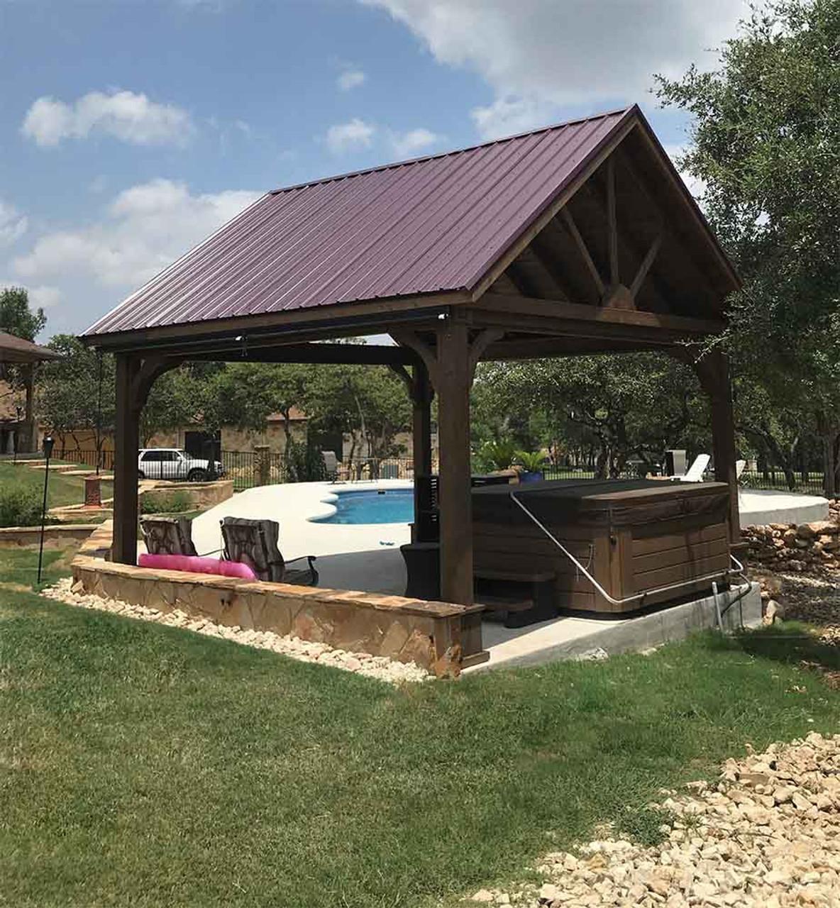 16x16 Open Gable Cedar Pavilion Georgetown TX