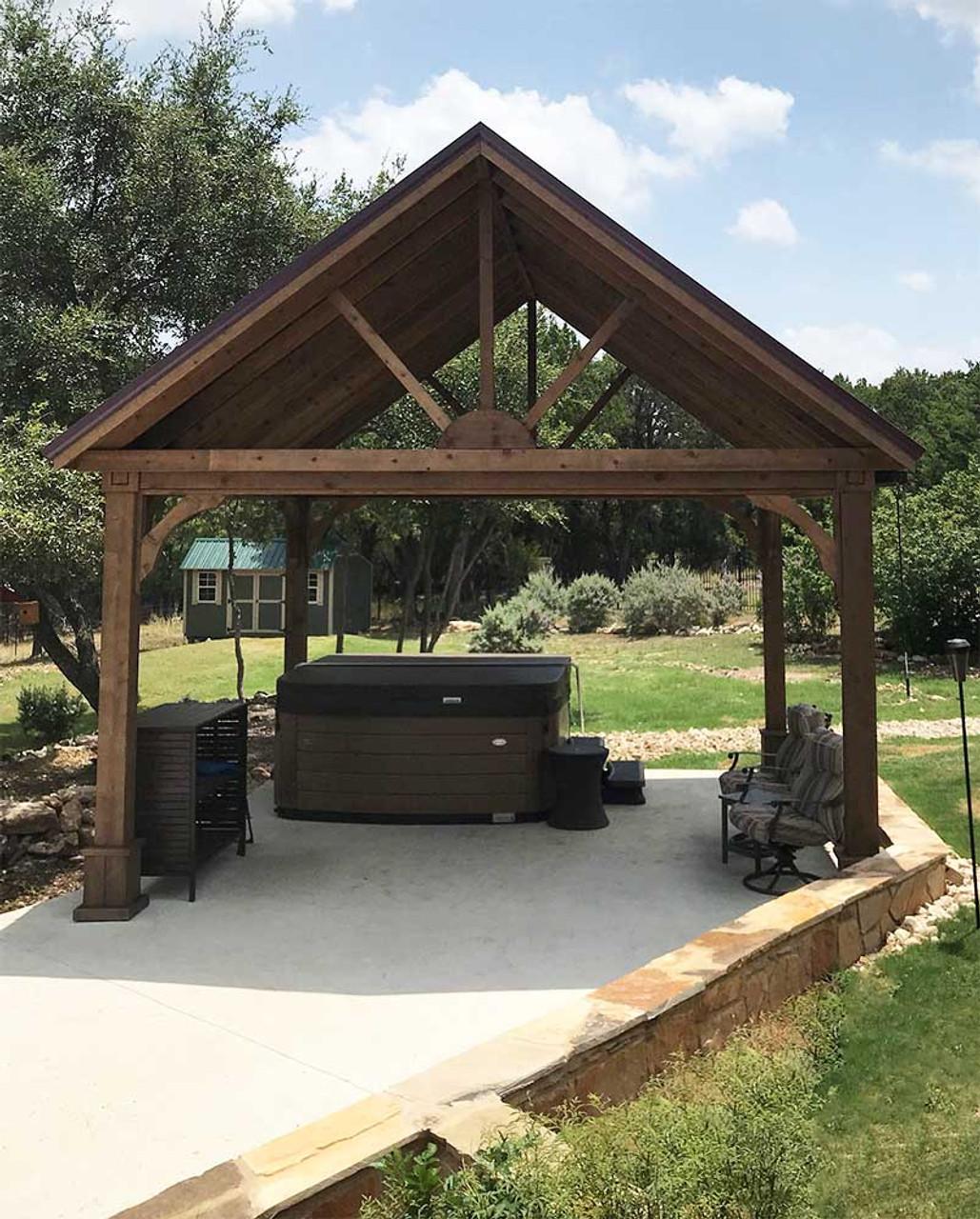 16x16 Open Gable Cedar Pavilion Front View Georgetown TX