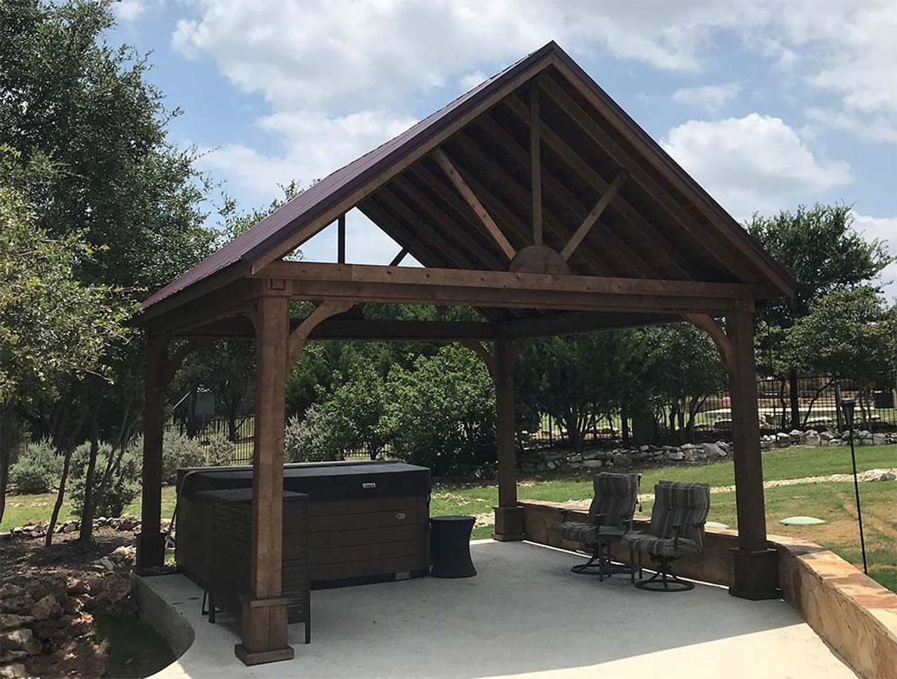 16x16 Open Gable Cedar Pavilion Georgetown Texas