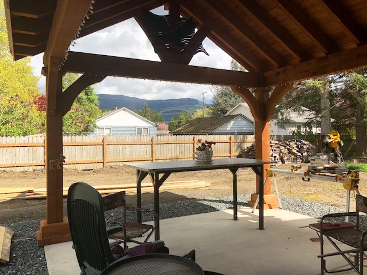 Grand Cedar Open Gable Pavilion Interior View Nooksack, WA