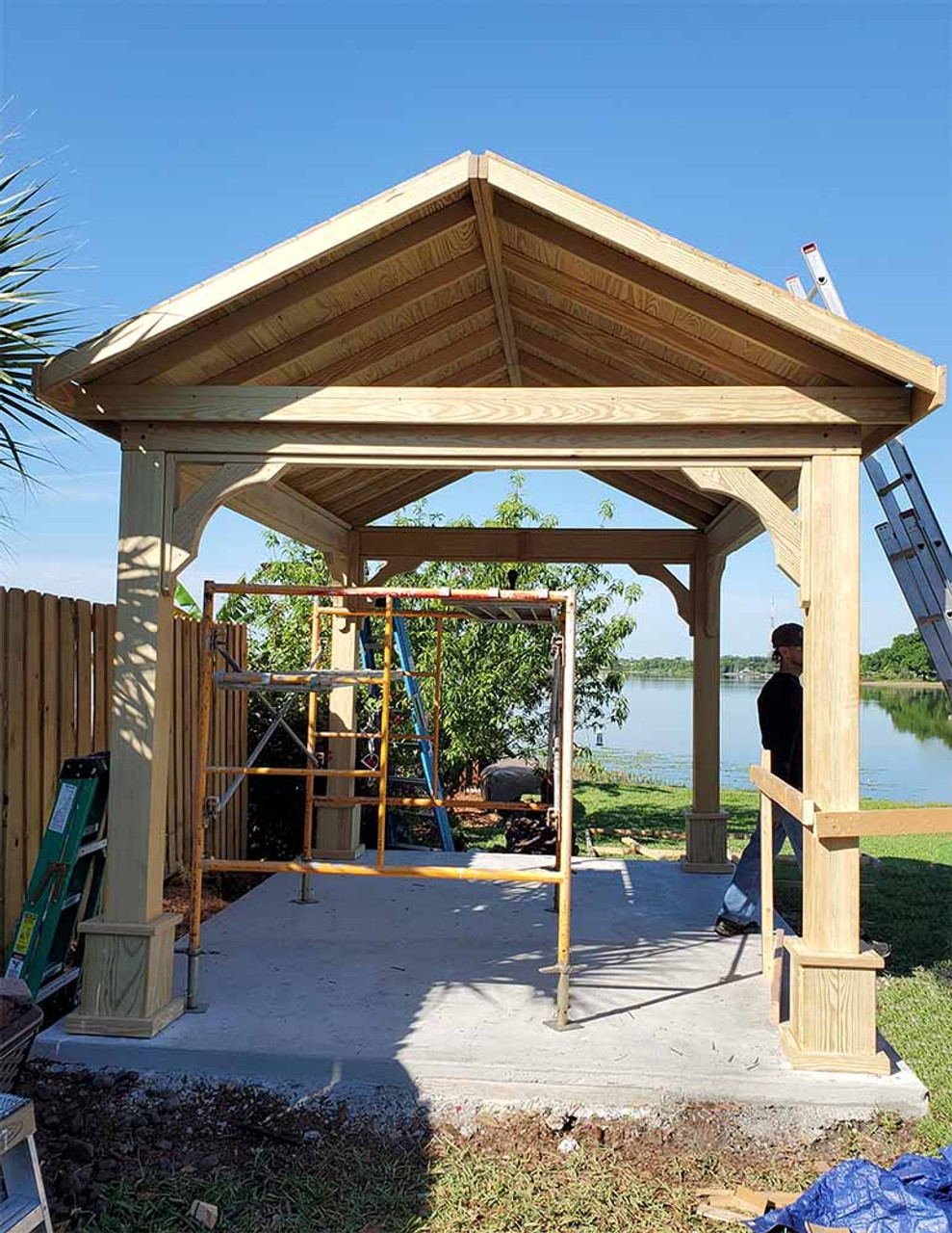 10x14 Open Gable Pressure Treated Pine Pavilion Orlando FL - Assembly continues