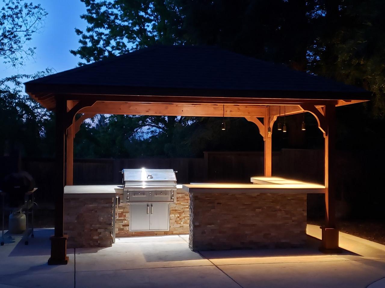 12x15 Traditional (Hip) Roof Cedar Pavilion Kit, Folsom, CA