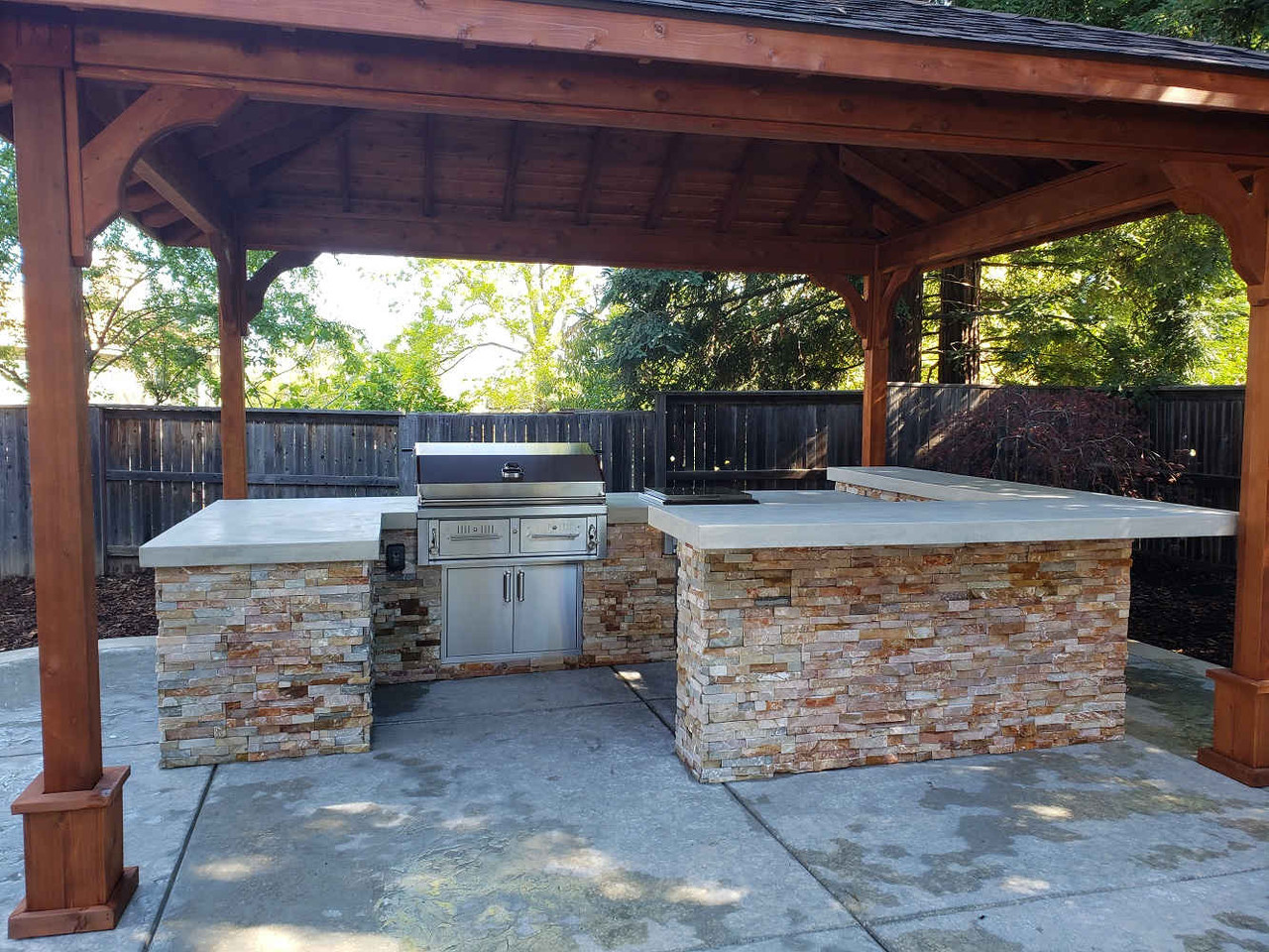 Outdoor Kitchen Under a Hip Roof Cedar Pavilion, Folsom, CA