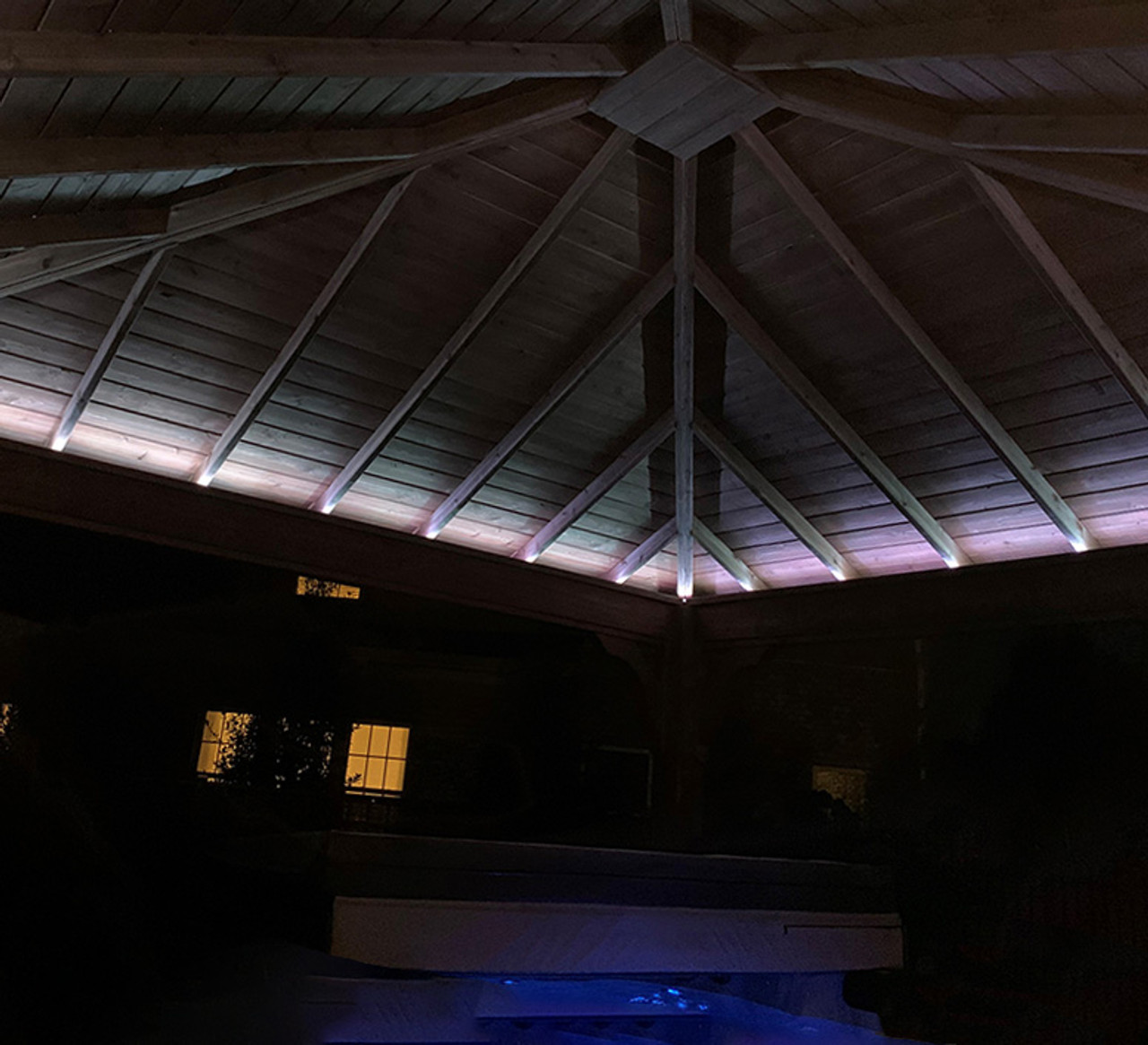 Traditional Hip Roof at Night