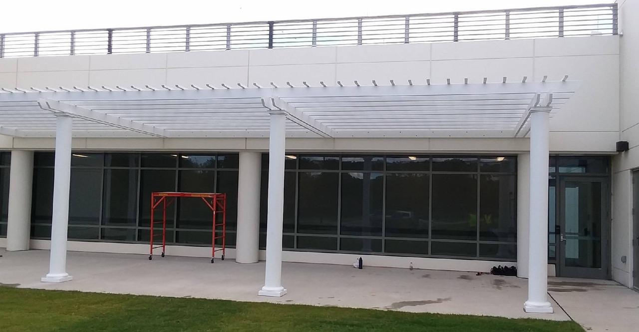 64x26 Wall Mounted Structural Fiberglass Pergola at Air Traffic Control Building, Charlotte, North Carolina