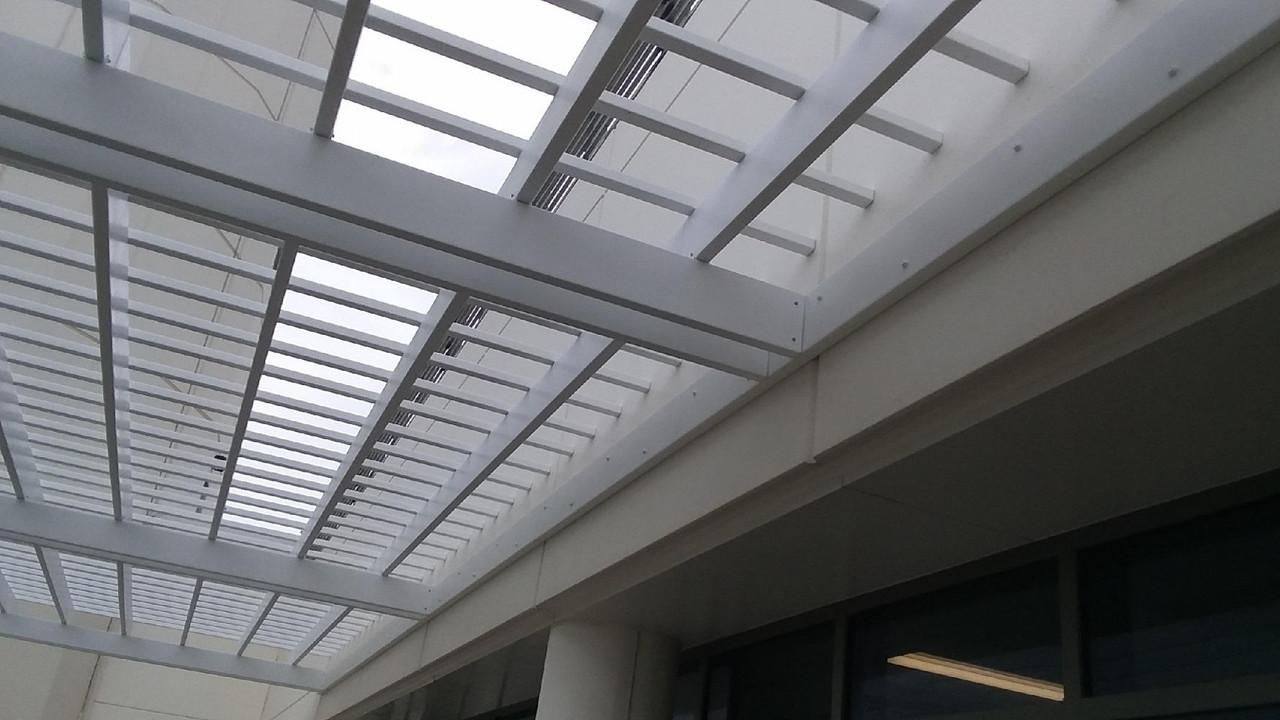 Underside of 64x26 Wall Mounted Fiberglass Pergola at Air Traffic Control Building, Charlotte, NC