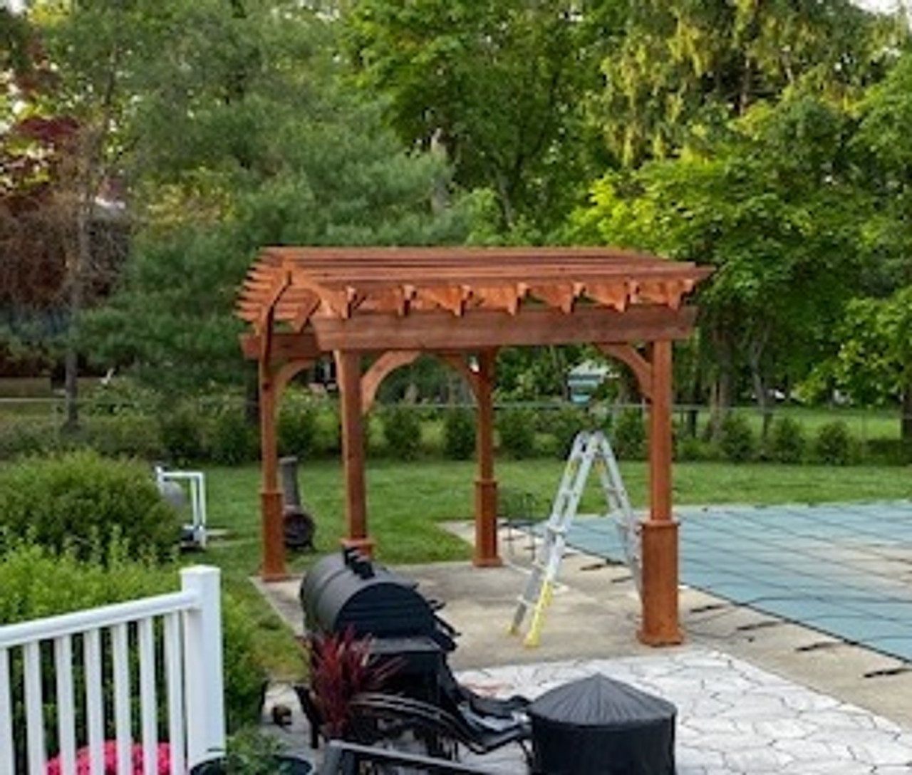 16x8 Arched Cedar Pergola Kit, Redbank, NJ