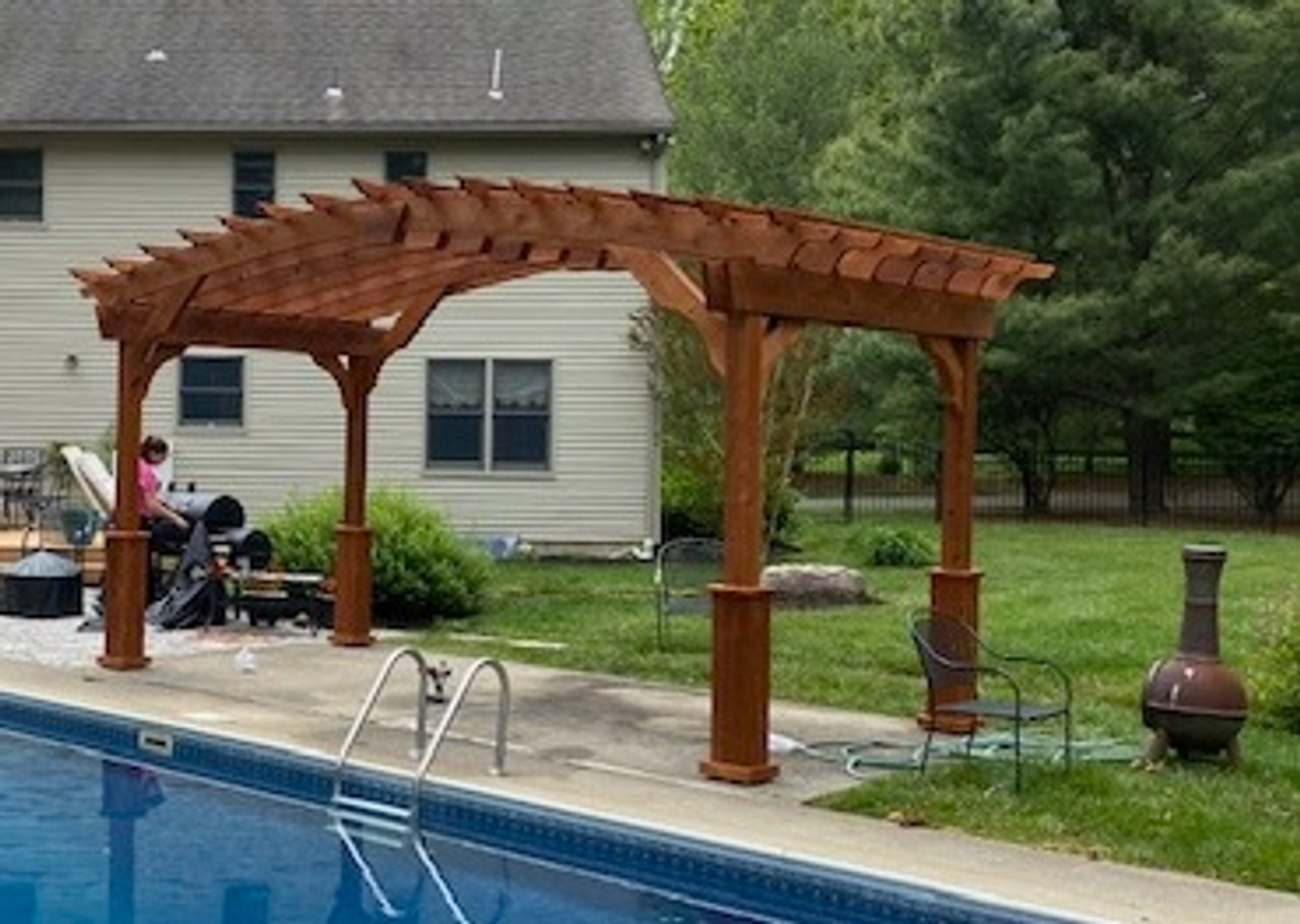 16x8 Arched Cedar Pergola Kit, Redbank, New Jersey