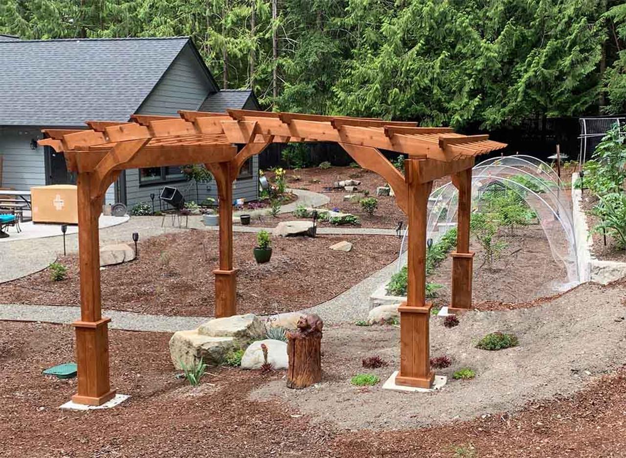 10x10 Arched Cedar Pergola Olympia, WA