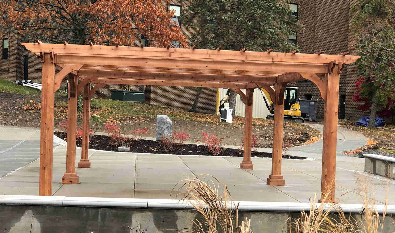 15x30 Classic Cedar Pergola on University Campus, Morrisville, NY