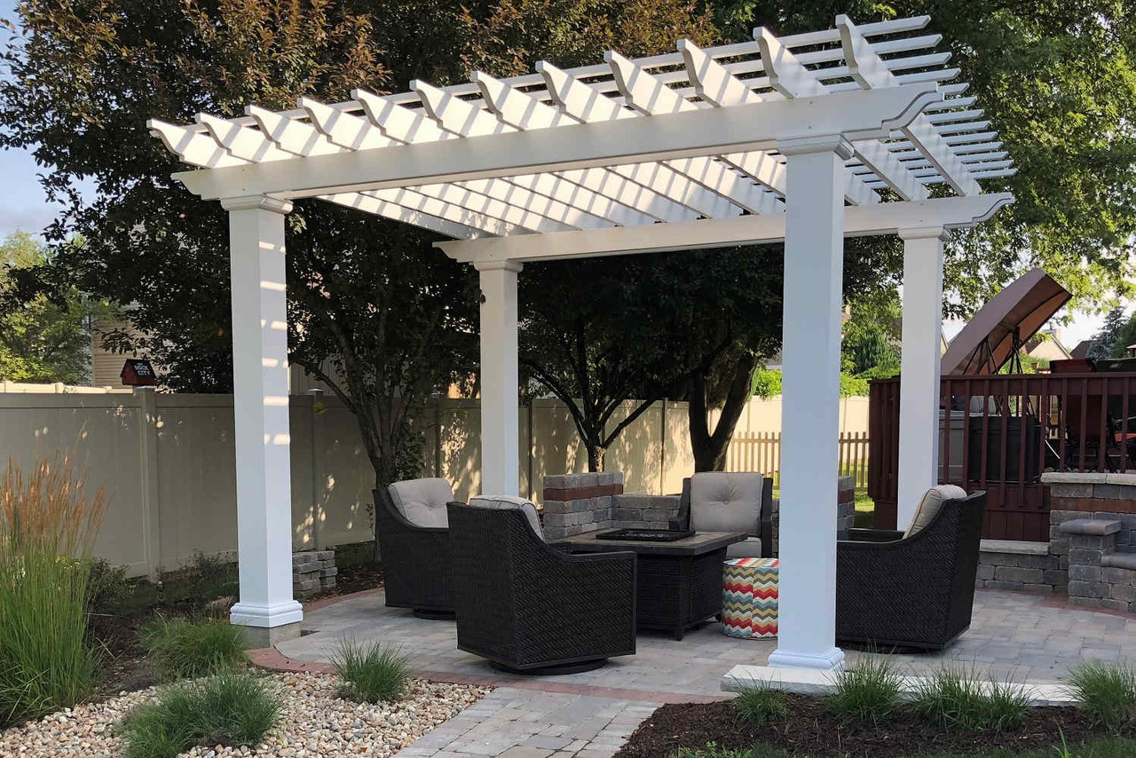 16x14 Freestanding Structural Fiberglass Pergola Kit, Schaumburg, Illinois
