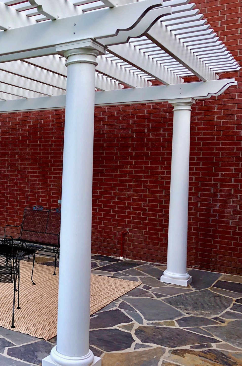 Round Tapered Columns with Tuscan Caps and Bases on Fiberglass Pergola, Cabot, AR