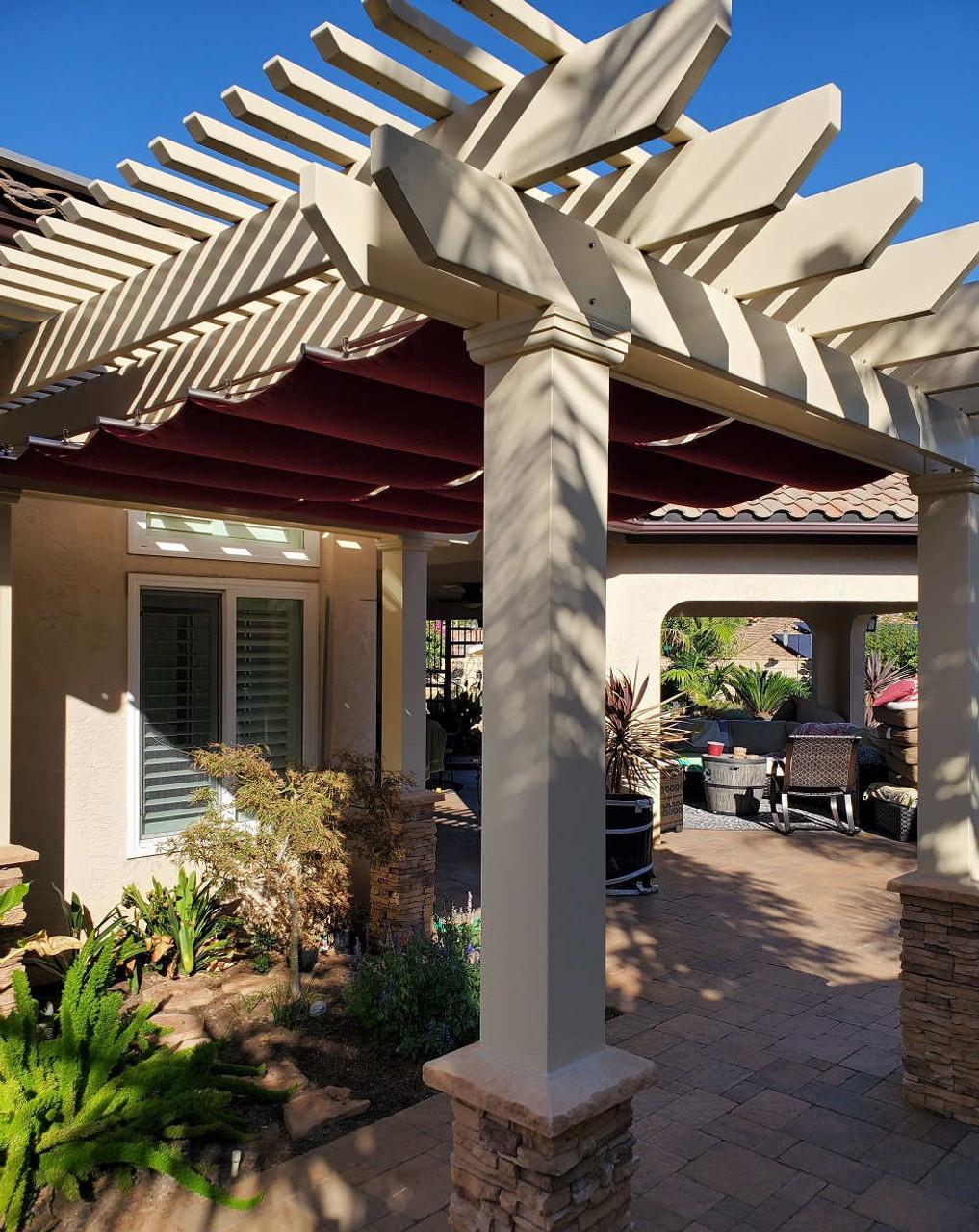 11x13 Freestanding Fiberglass Pergola with Canopy, Santee, CA