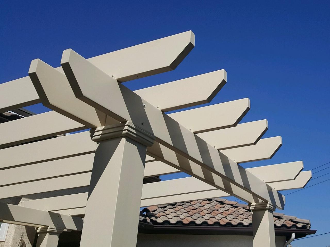 Square Columns and Almondine Custom Color on  Fiberglass Pergola, Santee, CA