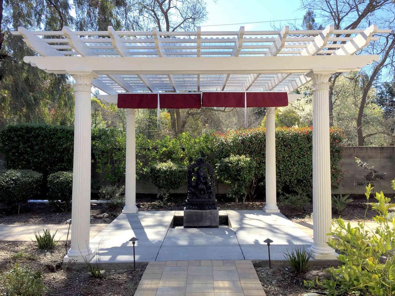 16x16 Fiberglass Pergola with Retractable Canopy, Danville, CA