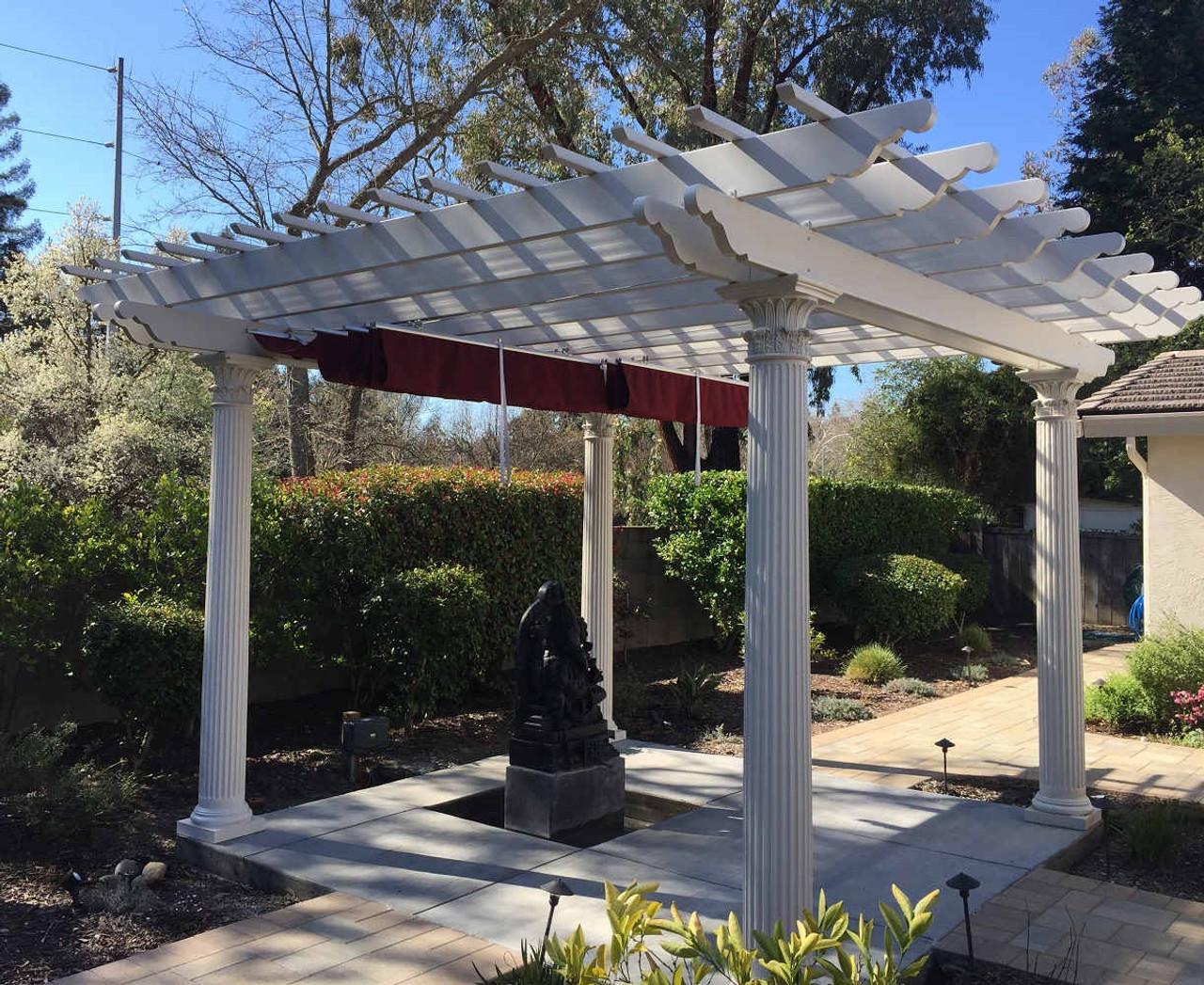 16x16 Fiberglass Pergola with Retractable Canopy, Danville, California