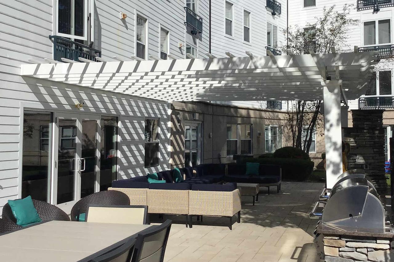 Structural Fiberglass Pergola Attached to Apartment Building, Malden, MA