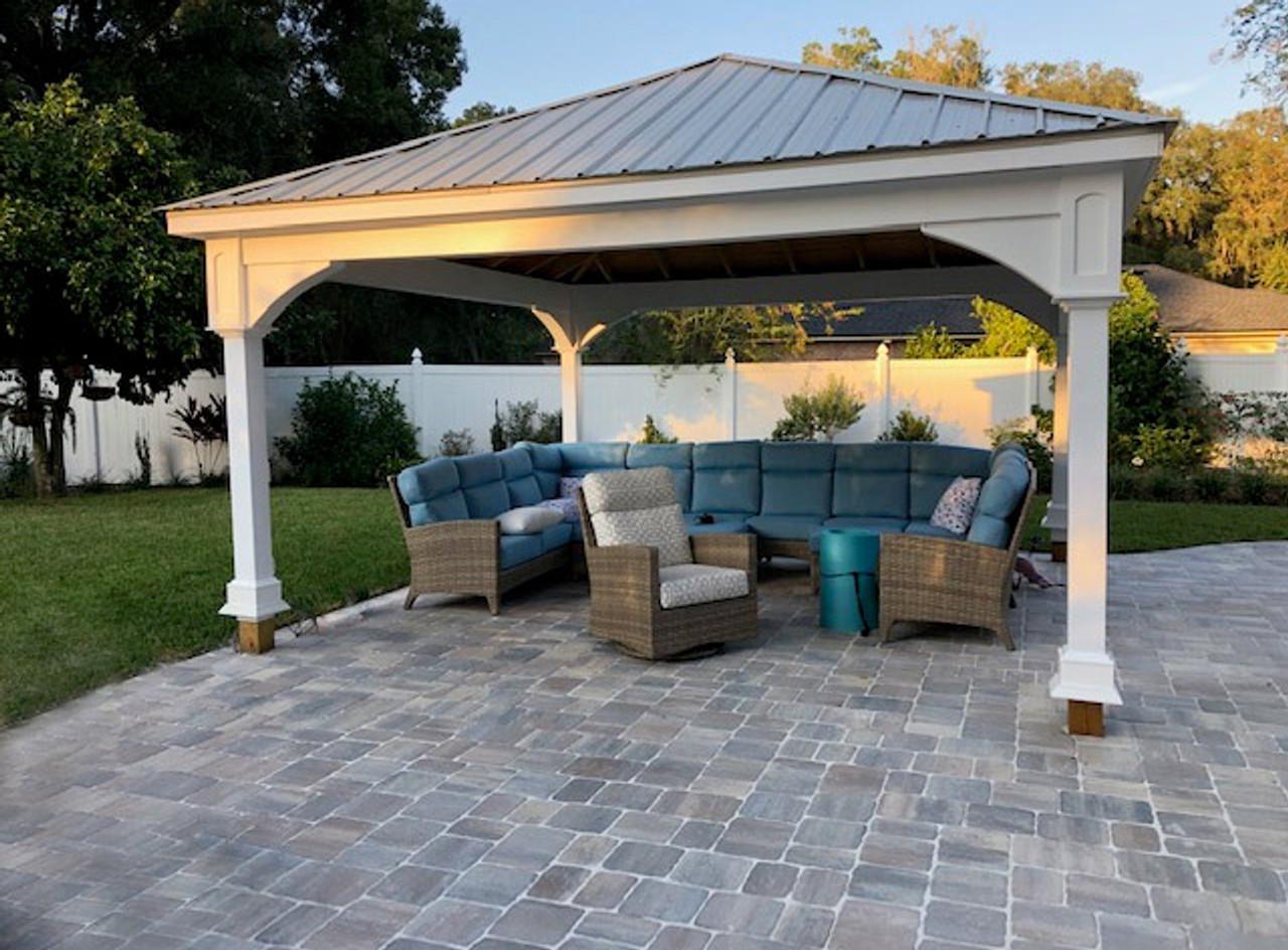 16x16 Pressure Treated Pine Traditional (Hip) Roof Pavilion Jacksonville Florida