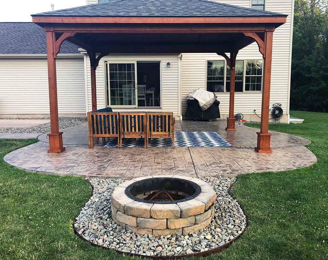 12x16 Western Red Cedar Traditional (Hip) Roof Pavilion Fire Pit Clarence Center New York