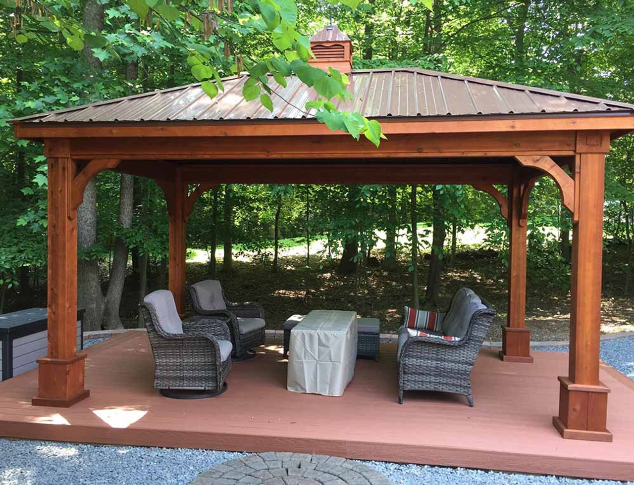12x16 Western Red Cedar Traditional (Hip) Roof Pavilion Manassas VA