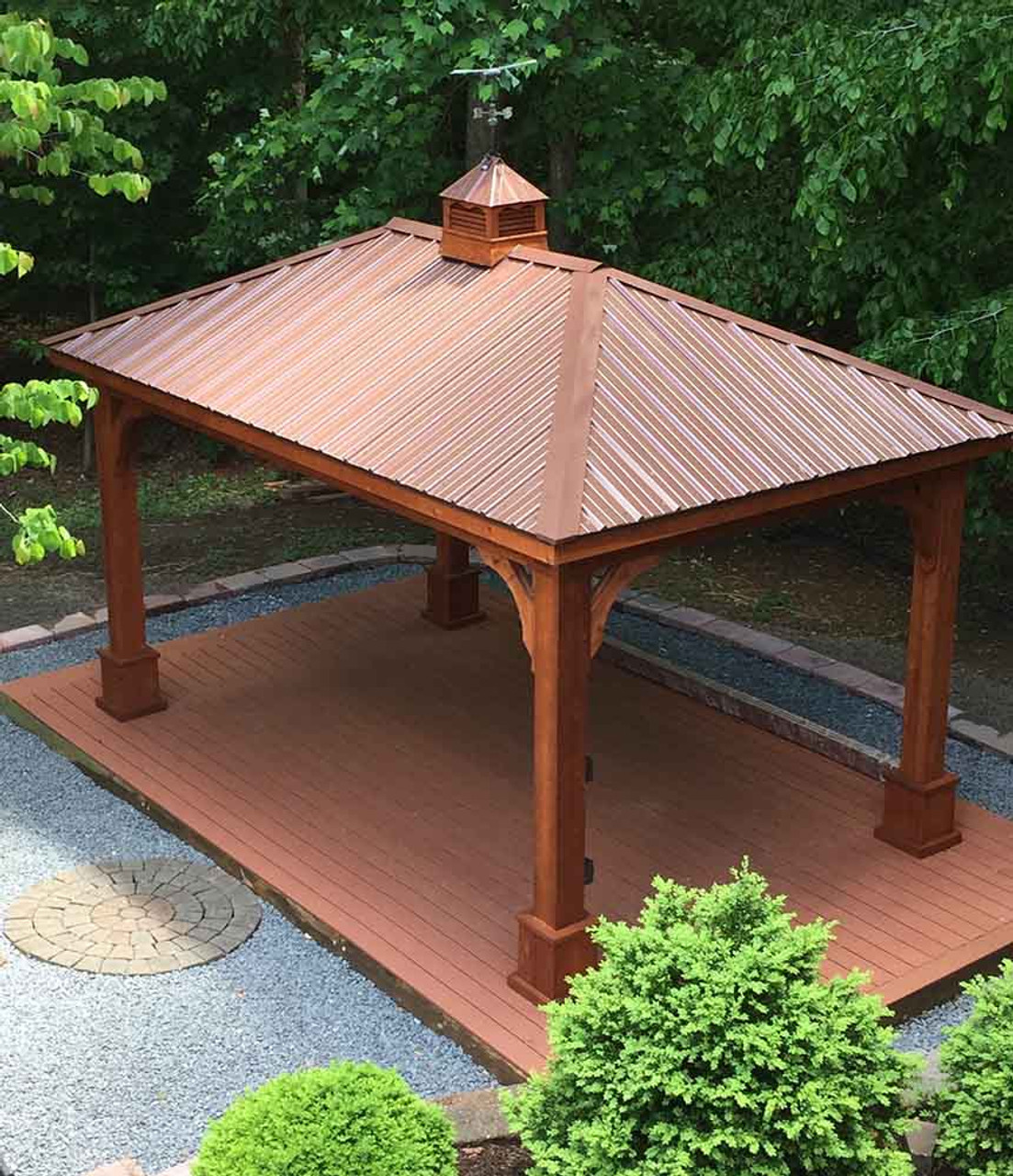 12x16 Western Red Cedar Traditional (Hip) Roof Pavilion Overview Manassas Virginia