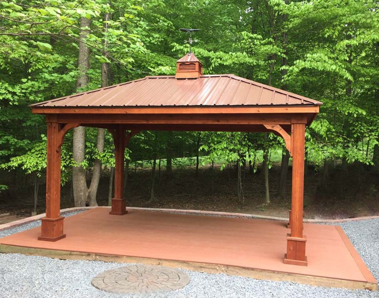 12x16 Western Red Cedar Traditional (Hip) Roof Pavilion Forest Haven