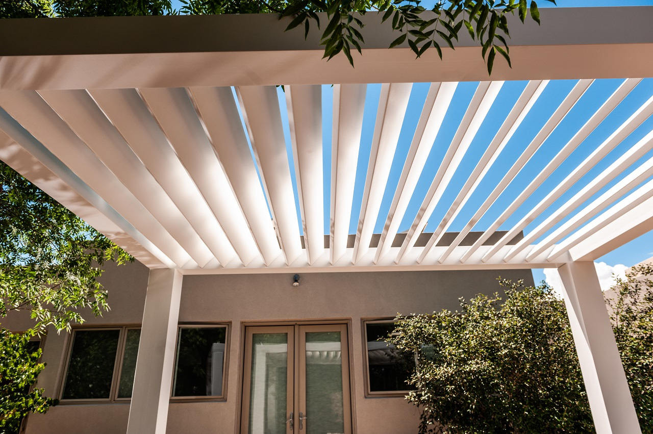 Underside of a Modern Contemporary Louvered Fiberglass Pergola, Los Ranchos de Albuquerque, NM