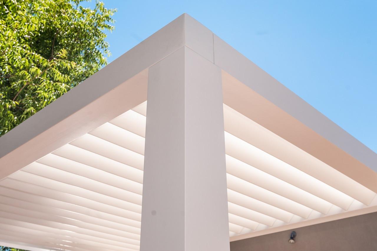 Sleek Lines on a Modern Contemporary Louvered Fiberglass Pergola Kit, Los Ranchos de Albuquerque, NM