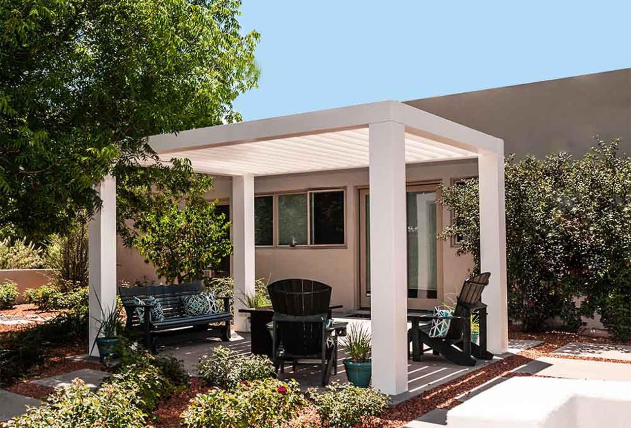14x10 Modern Contemporary Louvered Fiberglass Pergola Kit, Los Ranchos de Albuquerque, New Mexico