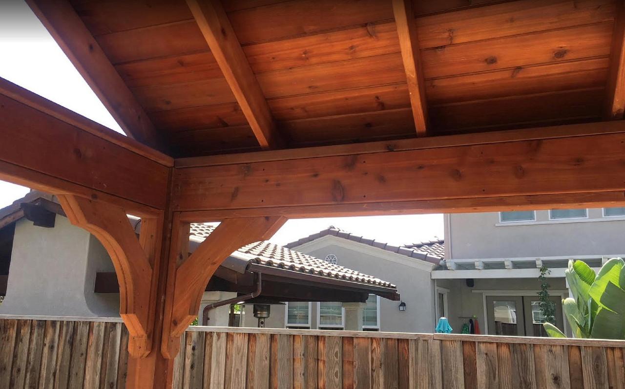 Tongue & Groove Roof Deck and Corner Brace for Open Gable Cedar Pavilion, San Jose, CA