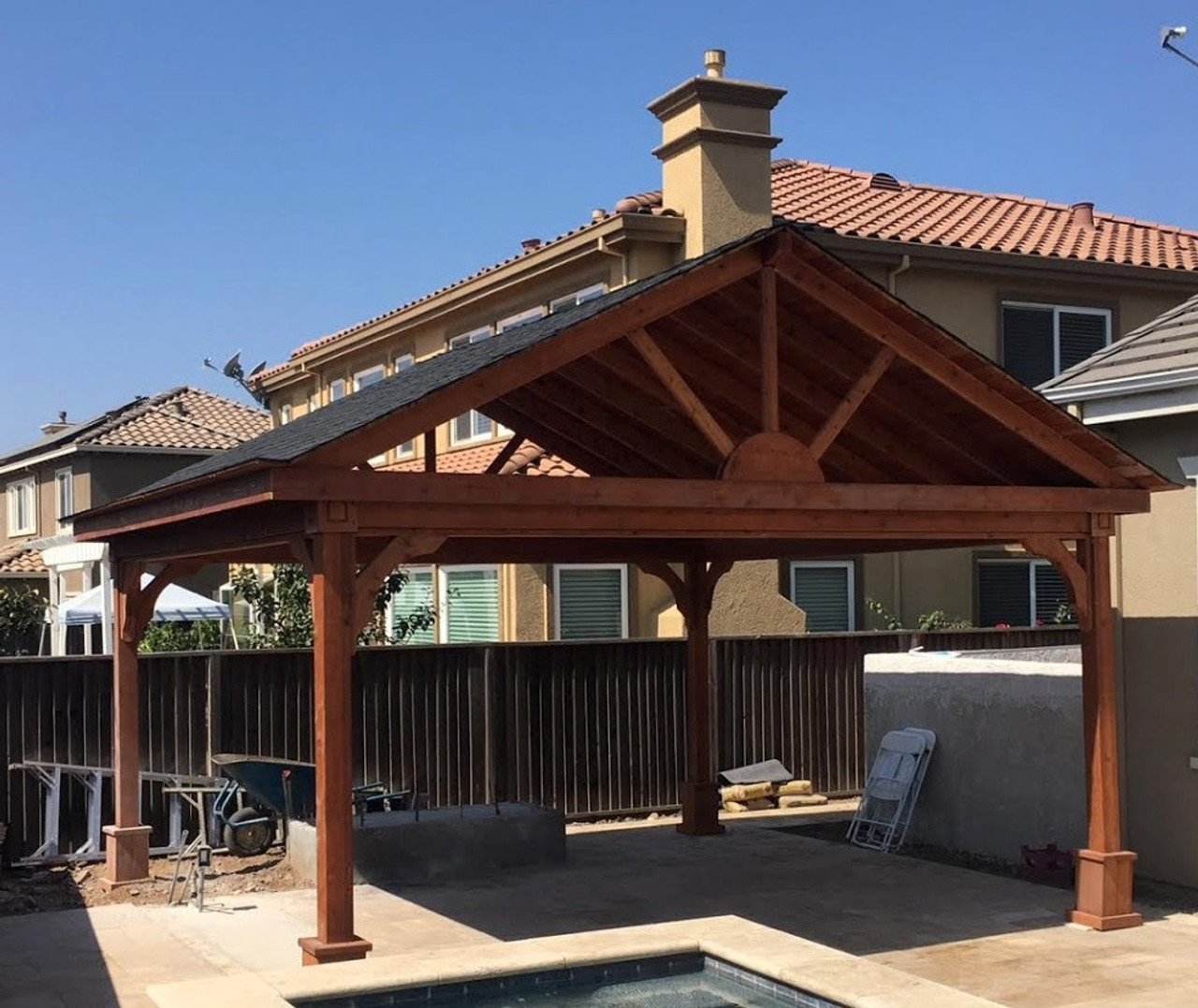 16x16 Gabled Roof Cedar Pavilion Kit, San Jose, California