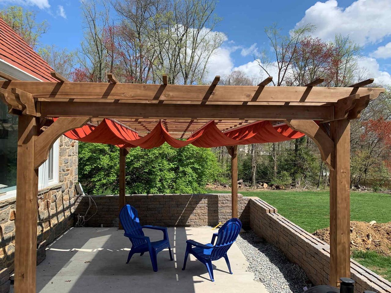 Terracotta Colored Canopy on 16x9 Classic Cedar Pergola, Wilmington, DE