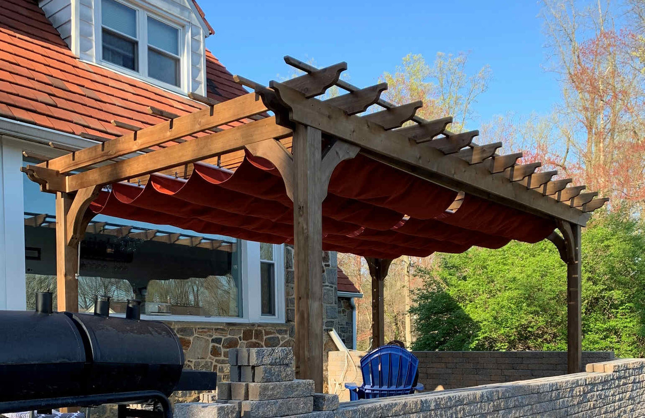 16x9 Freestanding Classic Cedar Pergola with Retractable Canopy, Wilmington, Delaware